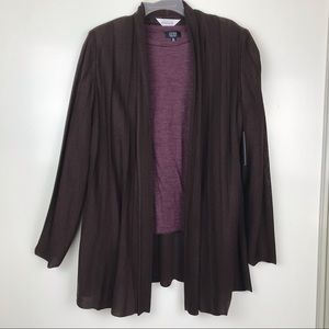 Exclusively Misook L NWT Brown Open Light Cardigan